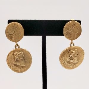 Vintage Greco-Roman Coin Clip Earrings